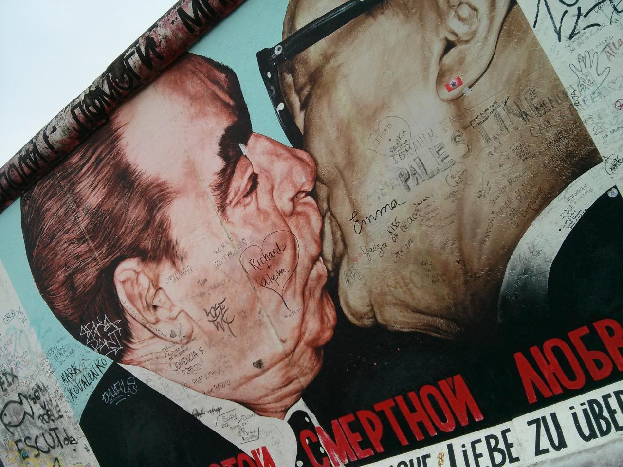 Brezhnev and Honecker kiss - East Side Gallery, Berlin Wall, Germany