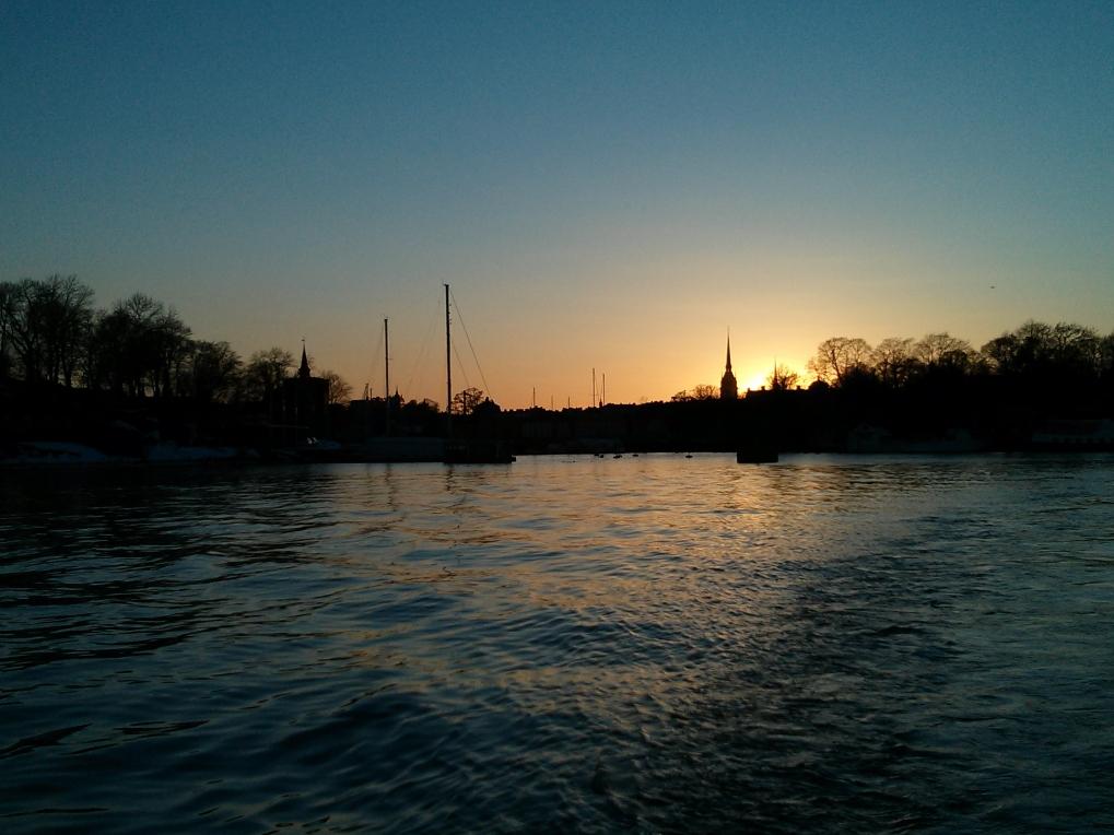 Stockholm sunset viewed from the Djurgården fjären