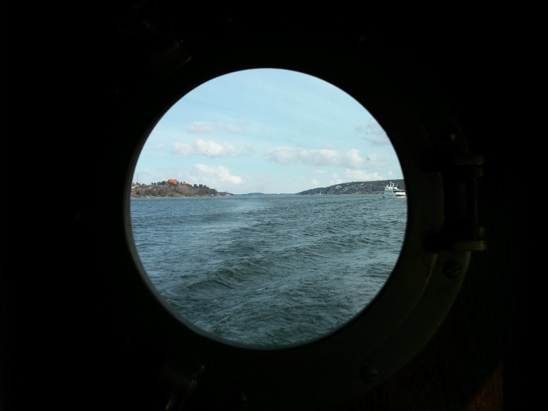 Port hole view of Stockholm Archipelago