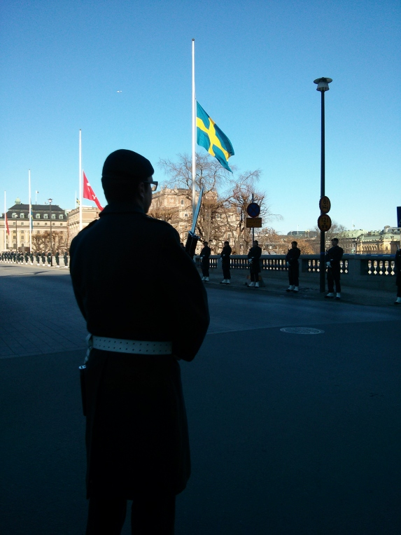 Flags at half-mast in Stockholm today for the death of Princess Lilian