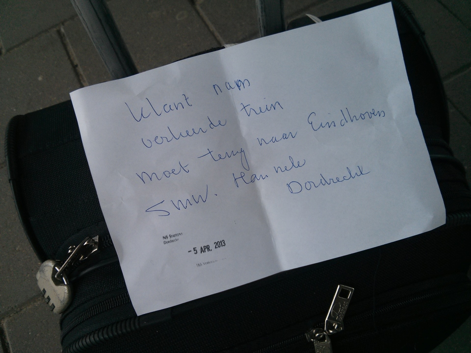 The hand-written note from a lovely woman at the train station.