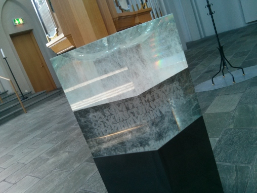 Crystal font inside Hallgrímskirkja in Reykjavík
