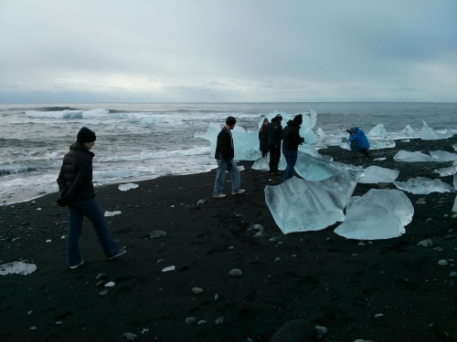 Ice on the beach near the Jökulsárlón glacial lagoon in southeast Iceland.