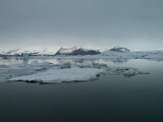 The Jökulsárlón glacial lagoon in southeast Iceland.