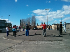 A rehearsal for something at Slussen, Stockholm