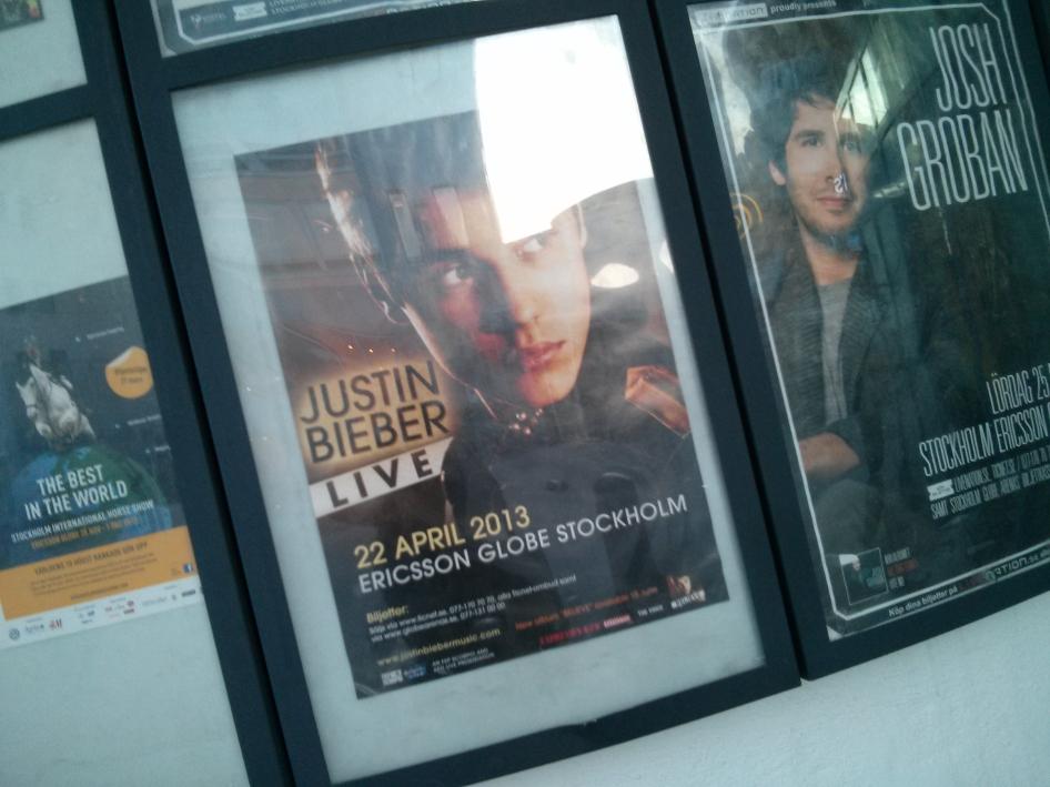 Justin Bieber posted at Globen, Stockholm