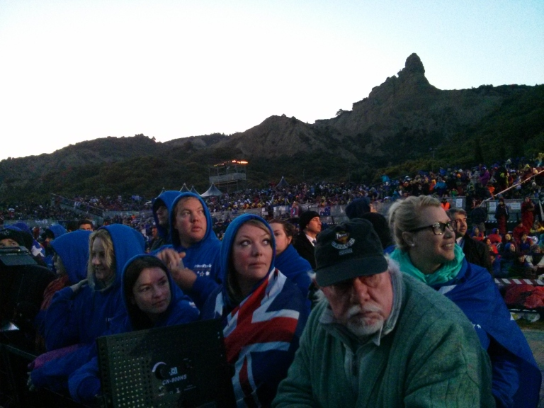 Anzac Day in Turkey - Looking out to the TV sceens with the cliffs in the background.