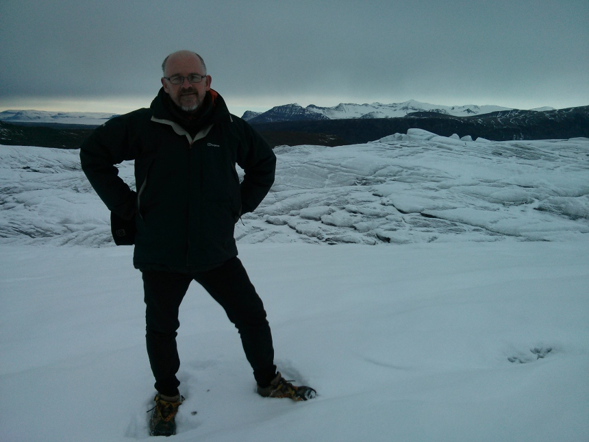 Standing on the glacier