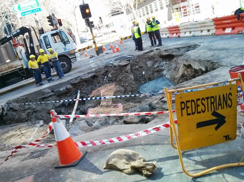 Road collapse, corner of Harris Street and Ultimo Road, Sydney