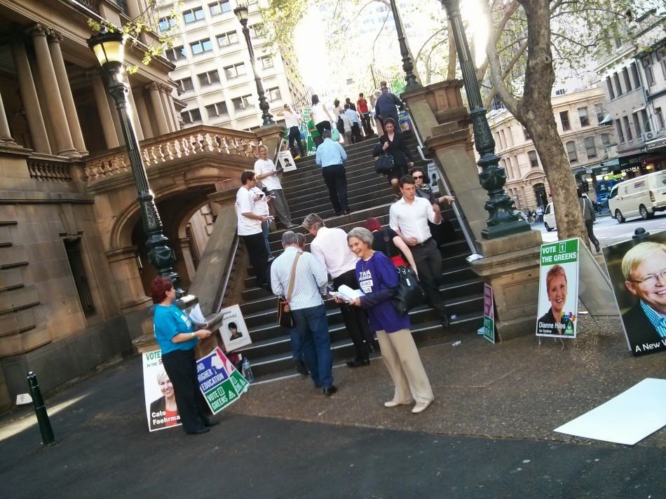 Voting at Sydney's Town Hall