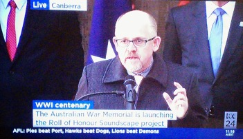 The Roll of Honour launch was broadcast on ABC News 24