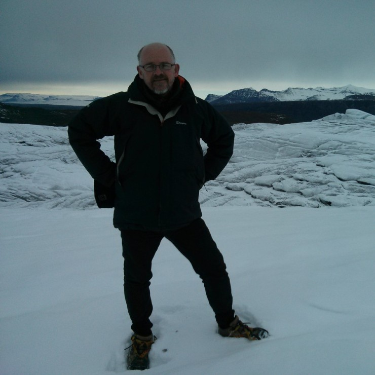Standing on a glacier in Iceland