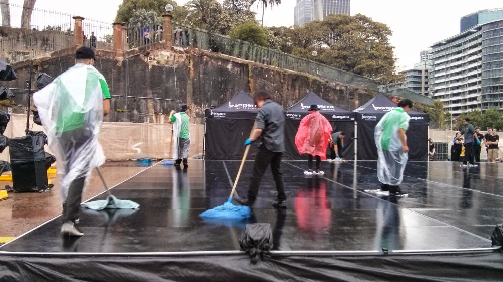 Choregoraphed cleaning ahead of the Bangarra Dance Theatre 25th celebration at Sydney Opera House
