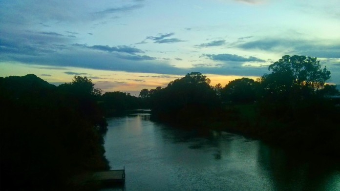 Christmas Eve Sunset on the Wilson's River, as viewed from the Ballina Street Bridge, Lismore