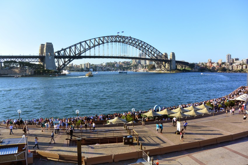 Tourist tip: the views are great from down on the land, but if you want a really terrific view of the Opera House and Harbour Bridge, take the stairs up to the Botanic Garden, enjoy the view, and have a picnic while you're there.