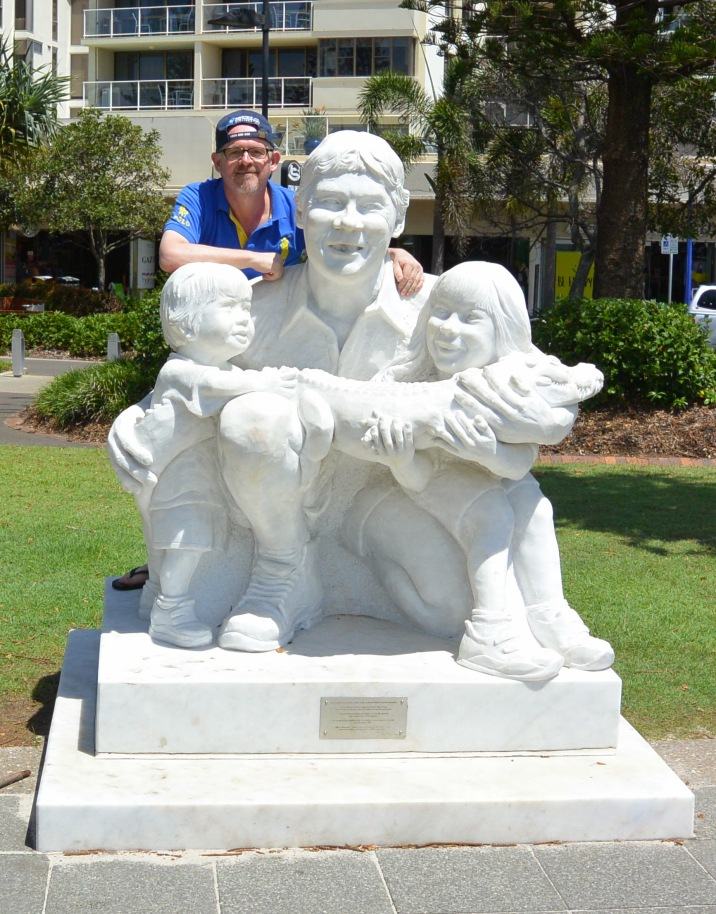 Steve Irwin statue at Mooloolaba, Queensland