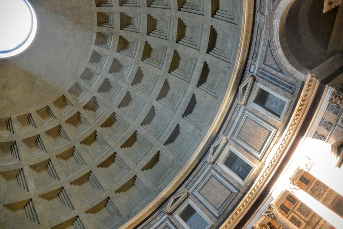 The ceiling of The Pantheon allows natural sunlight (and rain) to enter the church.