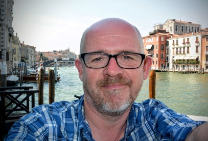 Sitting on the balcony at the Peggy Guggenheim Collection