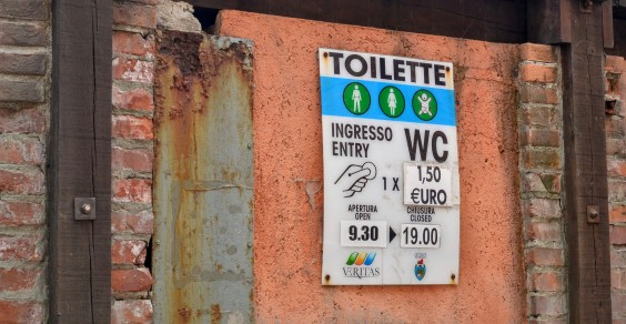Spend a penny? How about €1.50? A real public toilet in Venice. About the same price as a beer at the supermarket.