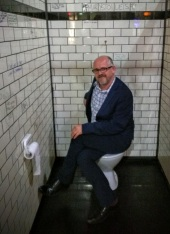 """Not really me sitting on the toilet, this was an """"interactive"""" installation, or just a good """"photo op""""."""