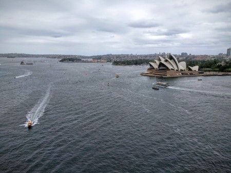 Sydney Opera House viewed from the walkway of the Sydney Harbour Bridge
