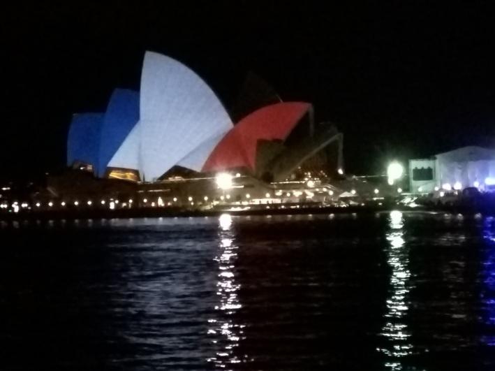 French flag colours on Sydney Opera House