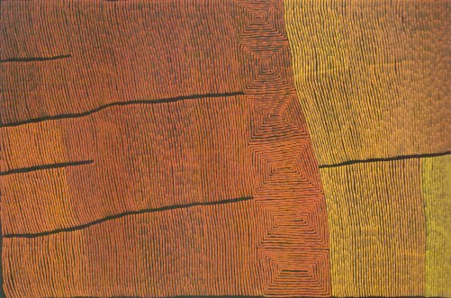 Ronnie Tjampitjinpa, Bushfire (2003) - Sadly this image doesn't capture the beautiful colours. Definitely worth seeing in real life.