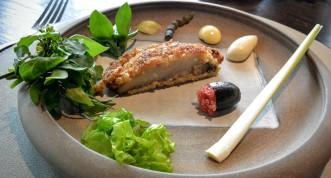 Abalone schnitzel and bush condiments
