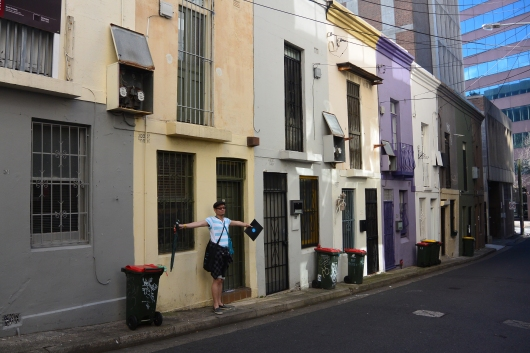 Less than 3metres wide, cottages at the corner of Sophia Street, Surry Hills