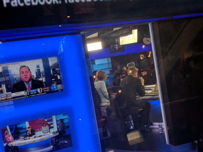 Snapped through the glass at the ABC, the News 24 team during the US election.
