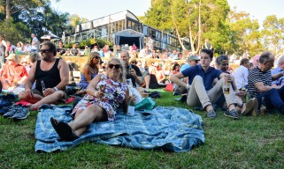 The crowd preparing to watch The Sports and Jo Jo Zep at Sydney's Taronga Zoo