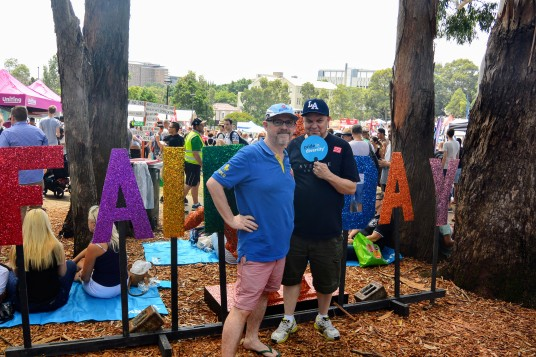 Graeme and I at Sydney Gay and Lesbian Mardi Gras Fair Day