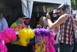 Terrific man walking around in support of marriage equality at Sydney Gay and Lesbian Mardi Gras Fair Day