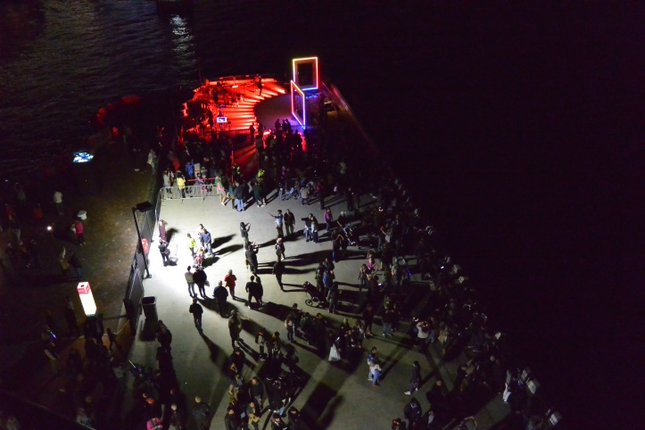 Looking down on the crowds at Vivid
