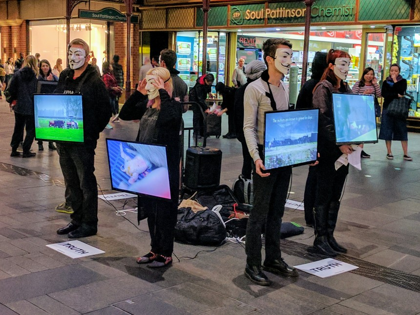 Vegan Protest in Pitt Street Mall in Sydney