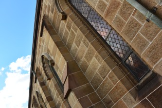 Beautiful sandstone and stained glass windows at St Benedicts