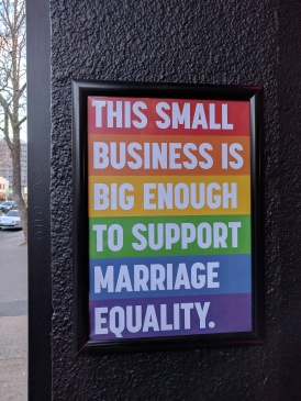 Lots of signs around Canberra in support of marriage equality