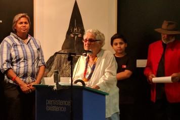 Aunty Euphemia Bostock speaks at Boomalli Aboriginal Artists Co-operative