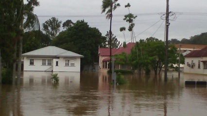 The water almost entered Nancy's house on Union Street, South Lismore, as viewed from Pat's place.