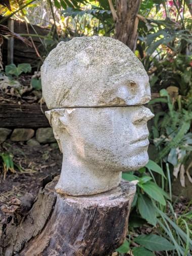 Concrete head in Wendys Secret Garden