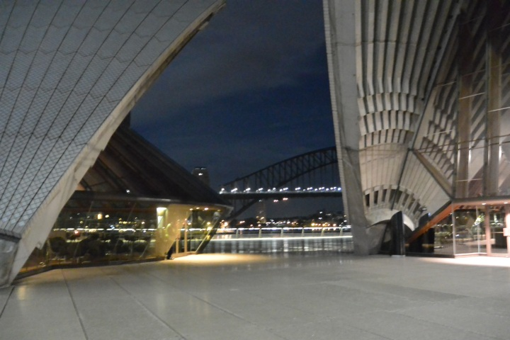 Viewing the Sydney Harbour Bridge before sunrise at the Sydney Opera House