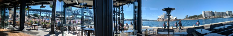 Seated near the window at James Squire Circular Quay