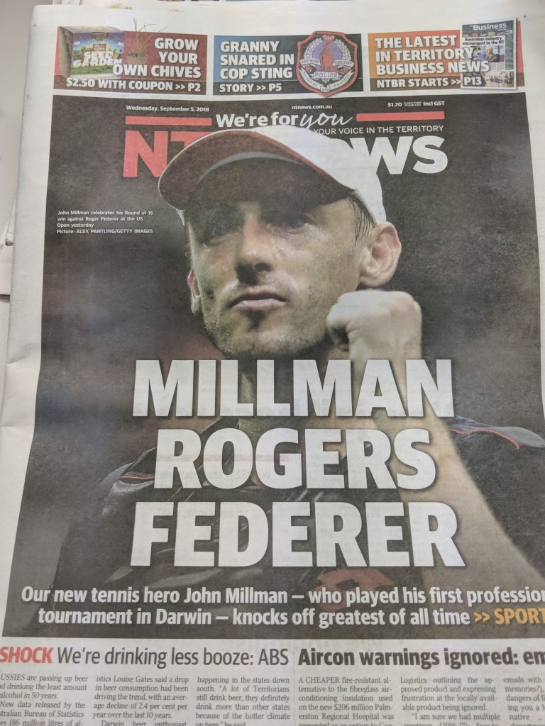 Classic NT News Headline - Millman Rogers Federer